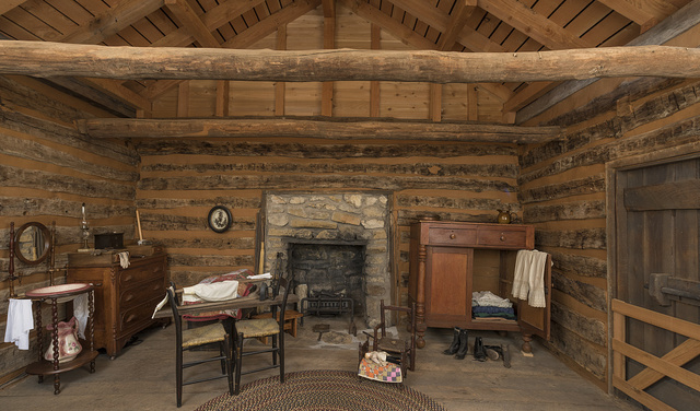 Bedroom of the Parker Cabin at Log Cabin Village, a house museum consisting of saved rural cabins moved to a central site in Fort Worth, Texas