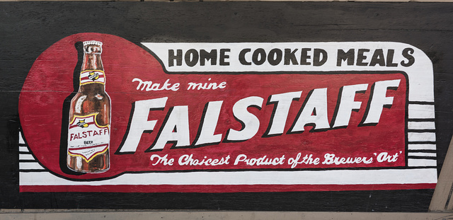 """Beer sign (""""Make Mine Falstaff"""") inside Lil' Red's Longhorn Saloon in the Stockyards District of Fort Worth, Texas"""