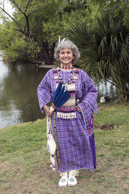 Betty Russell, a participant at the Celebrations of Traditions Pow Wow, an official Native American Pow Wow that is part of the annual, month-long Fiesta San Antonio in Texas