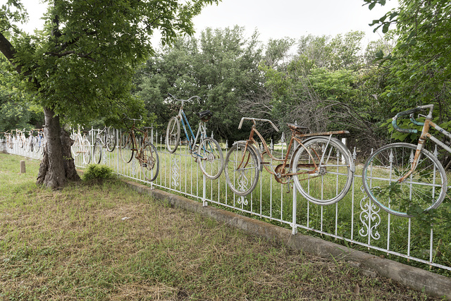 Bicycles as art in Salado, Texas, a small, artistic town between Waco and Austin