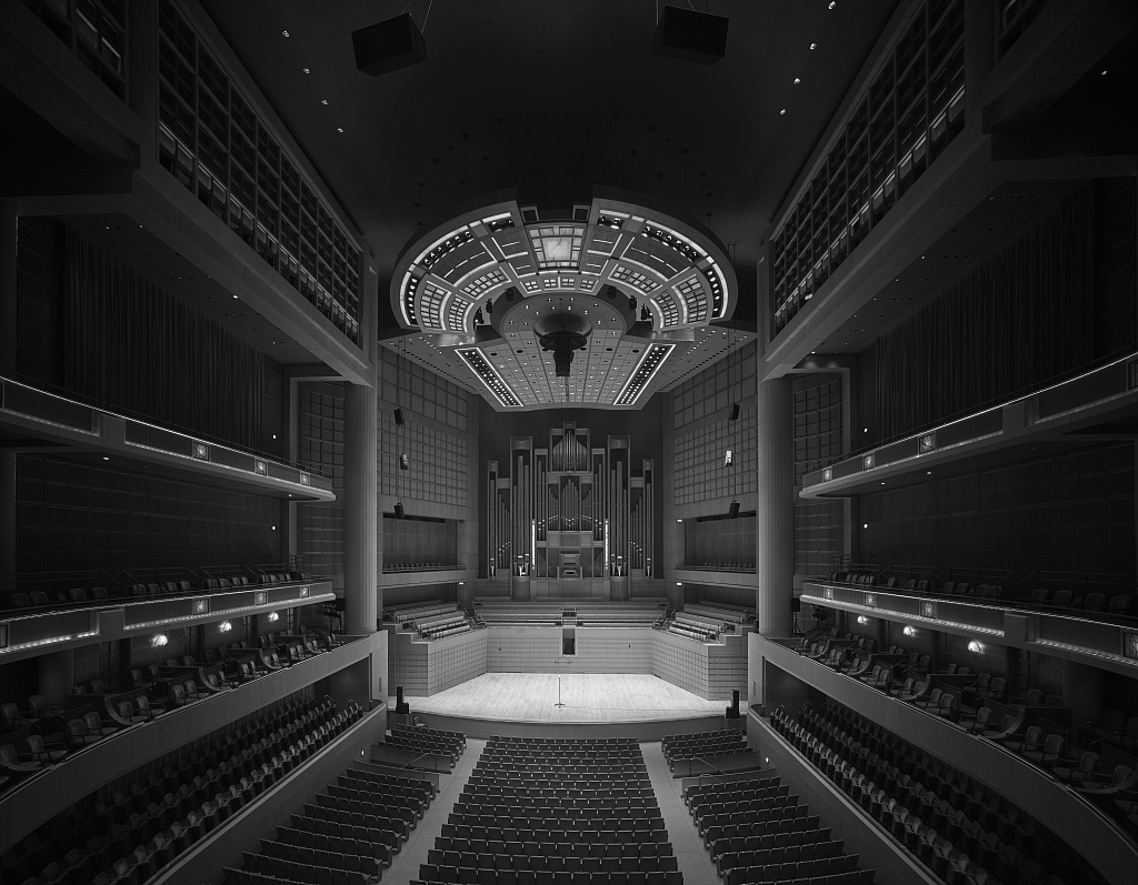 Black-and-white image of the auditorium at the Morton H. Myerson Symphony Center, which opened in 1989 in the Arts District of Dallas, Texas
