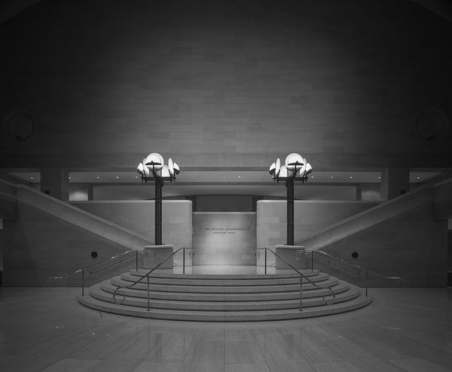 Black-and-white image of the modernist lobby at the Morton H. Myerson Symphony Center, which opened in 1989 in the Arts District of Dallas, Texas