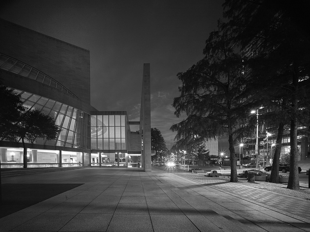 Black-and-white image of the Morton H. Myerson Symphony Center, which opened in 1989 in the Arts District of Dallas, Texas