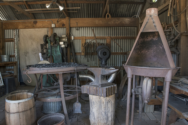Blacksmith shop at the Heritage Farmstead Museum, a living-history site interpreting the Texas Blackland Prairie region in North Texas in Plano, a northern suburb of Dallas, Texas