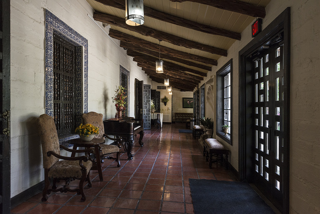 Breezeway at Quinta Mazatlan, a historical adobe mansion within a nature and birding center in McAllen, Texas