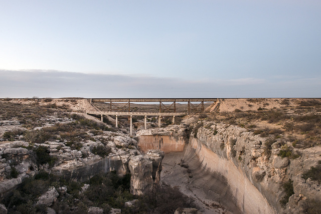 Bridges over a deep gully in Val Verde County in southwest Texas
