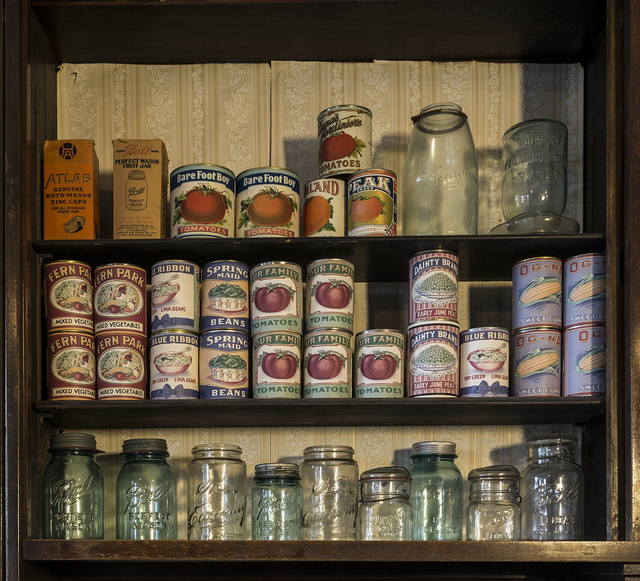 Canned goods and canning jars at the general store that is part of the Spindletop-Gladys City Boomtown park, a re-creation of portions of the oil boomtown of Gladys City, Texas. Beaumont, Texas