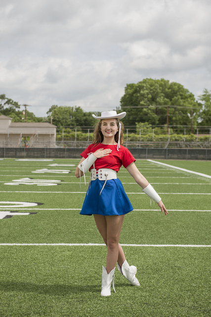 Catherine Shore of Longview, Texas, one of the approximately 75 Kilgore College Rangerettes, a choreographed dance team that first formed in 1940