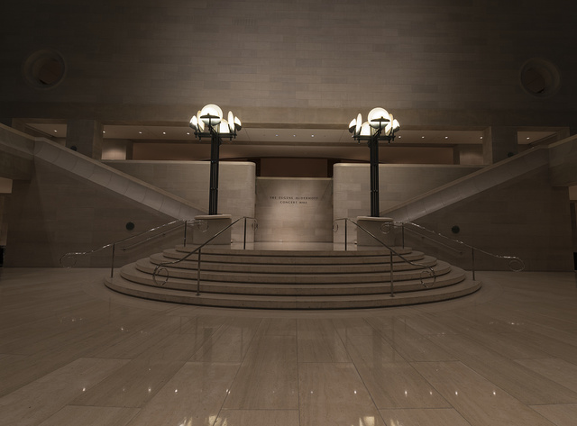 Central staircase leading to the performance hall at the Morton H. Myerson Symphony Center, which opened in 1989 in the Arts District of Dallas, Texas