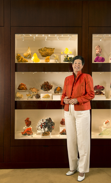 "Dallas, Texas, ""philanthropreneur"" Lyda Hill, the granddaughter of legendary Texas oil pioneer H.L. Hunt. Behind her is a portion of her vast collection of gems, geodes, and other minerals from around the world. Many more form the central feature of the Lyda Hill Gems and Minerals Hall at the nearby Perot Museum of Nature and Science"