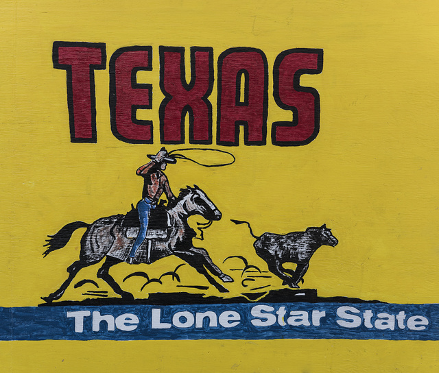 "Decorative sign (""Texas, The Lone Star State"") inside Lil' Red's Longhorn Saloon in the Stockyards District of Fort Worth, Texas"