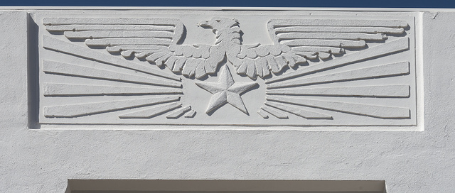Detail from a downtown bank building in Marfa, in Presidio County, Texas