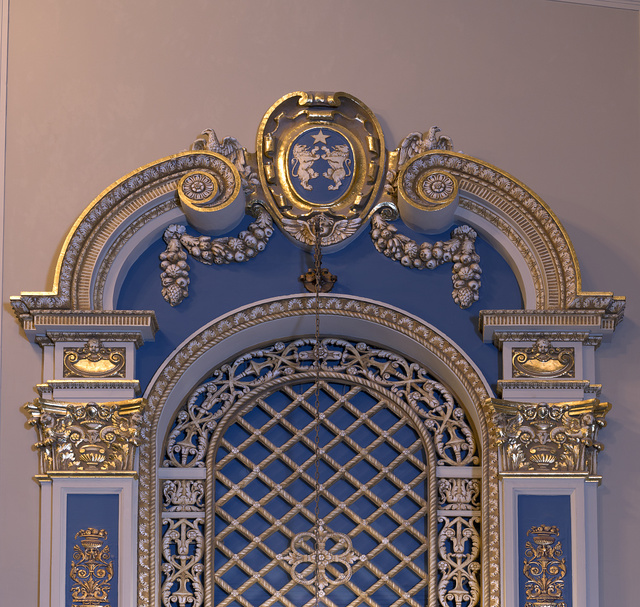 "Detail in auditorium at the Perot Theatre, a landmark since 1924, when it opened as the Saenger Amusement Company's ""Gateway to the West"" movie theater in Texarkana, Texas"