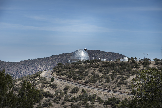 Distant view of two facilities at the McDonald Observatory on Mount Locke, above the city of Fort Davis in the Davis Mountains of West Texas
