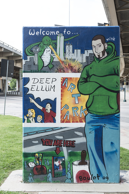 """Distinctive urban art (mural: """"Welcome to Deep Ellum Art Park"""") in Deep Ellum, a neighborhood composed largely of arts and entertainment venues near downtown in Old East Dallas, Texas"""