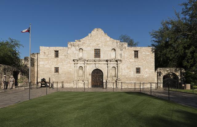 Doorway to the Alamo, an 18th-century mission church in San Antonio, Texas