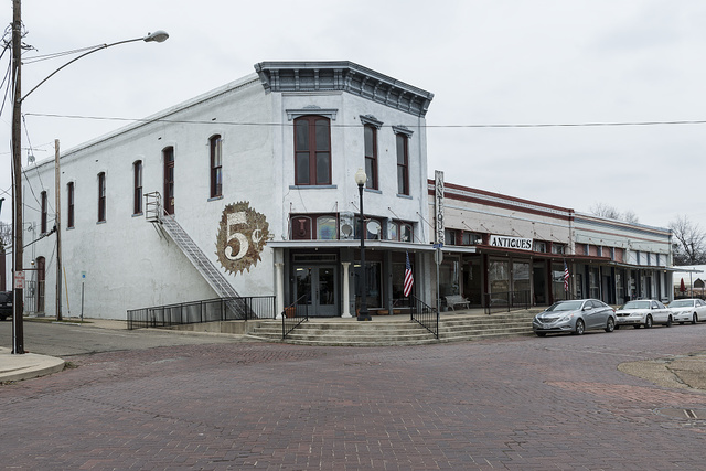 Downtown streetscape in Clarksville, Texas