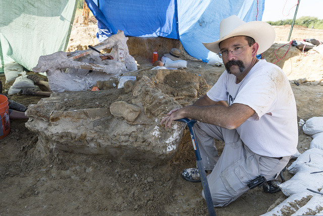 """Dr. Ronald S. Tykoski, a """"fossil preparator"""" at the Perot Museum of Nature and Science in Dallas, Texas, leads an archaeological dig on the site of the discovery of a Columbian mammoth near Italy, Texas"""