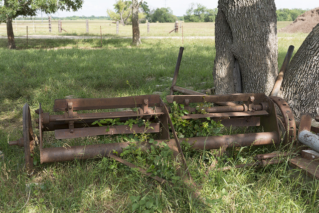 Early-20th Century farm equipment, retained as a reminder of harder days at the Porter Farm, also known as Walter C. Porter Farm, near Terrell in Kaufman County, Texas
