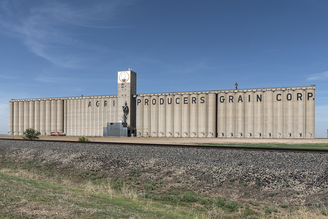 Enormous, multi-silo grain elevators in Plainview, an agricultural community in the Texas panhandle