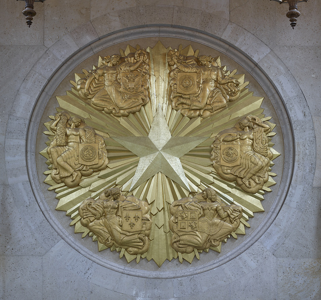Exterior detail of the Hall of State at Fair Park, site of the 1936 Texas Centennial celebration and the Pan-American Exposition in 1937 in Dallas, Texas