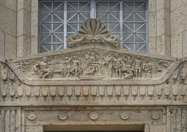 Exterior detail of the Travis County Courthouse in Austin, Texas