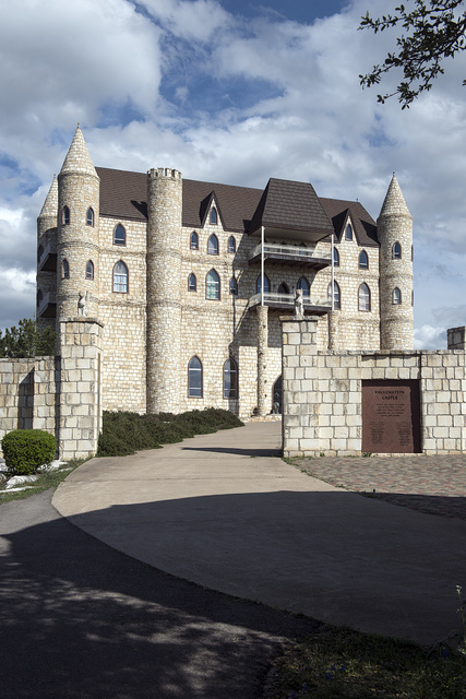 Falkenstein Castle, built from scratch as a residence by Kim and Terry Young in the hills below Burnet in the Texas Hill Country