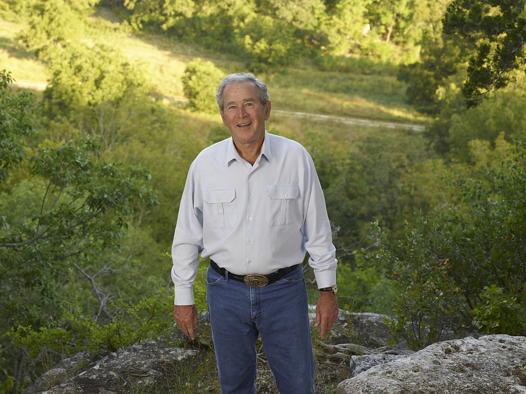 "Former U.S. President George W. Bush at his and First Lady Laura Bush's 1,600-acre ranch, site of the ""Texas White House"" during their visits there during the Bush presidency, near Crawford in McLennon County, Texas"