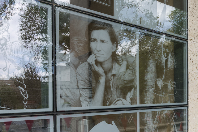 """""""From the Outside In,"""" a display of photographs on the atria windows of the Harry Ransom Center, an archive, library and museum at the University of Texas at Austin"""