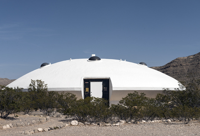 Futuristic spaceship-looking building that served as a sales office of a company selling land in the area of the Hueco Tanks State Park in El Paso County, Texas