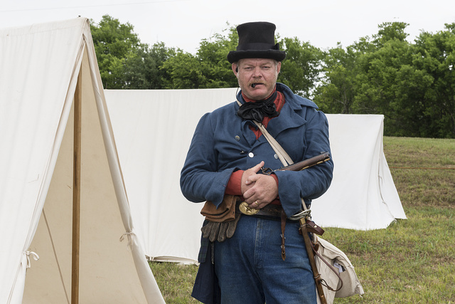 George Rollow as a Texan artillery commander at the annual Battle of San Jacinto Festival and Battle Reenactment, a living-history retelling and demonstration of the historic Battle of San Jacinto, La Porte, Texas