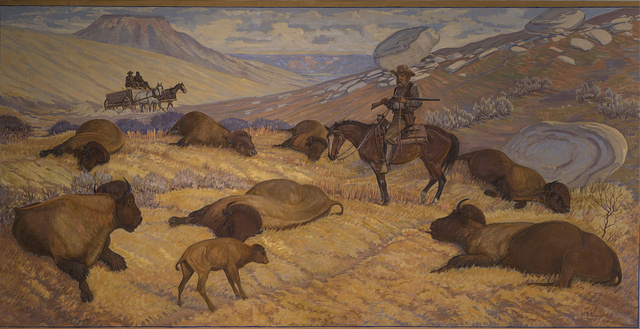 """Hide Hunters,"" a 1956 mural by Harold Dow Bugbee that depicts the slaughter of western bison for their hides at the Panhandle-Plains Historical Museum on the campus of West Texas A&M University in Canyon, Texas"