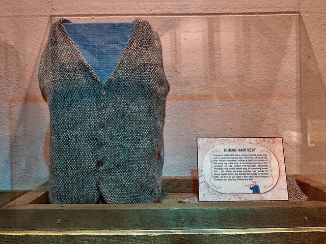 """Human hair vest in the """"odditorium"""" portion of the Ripley's Believe It Or Not attraction in Grand Prairie, Texas"""