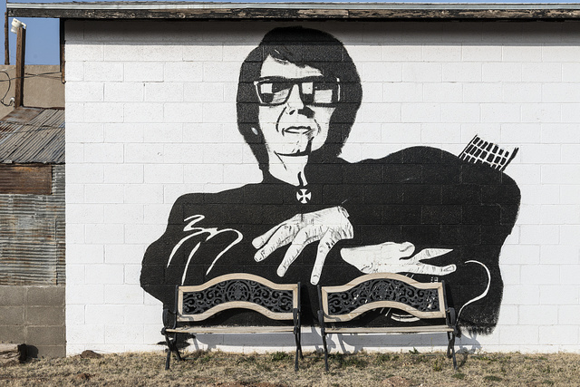 Image of a local boy made good: rock-'n'-roll superstar singer and songwriter Roy Orbison, on the side of a tiny museum honoring him in tiny Wink, Texas
