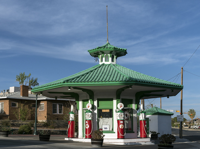 In 2008, nearly 90 years after it was built, this 1919 gas station in El Paso, Texas, was restored by antiques business owner Rod Davenport