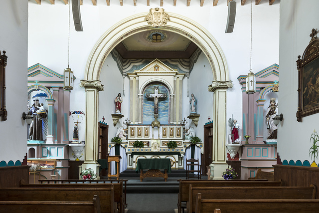 Interior view of the San Ysleta Mission, built in 1682 by members of the Tigua Indian tribe who had been forced to flee their ancestral home near what is now Albuquerque, New Mexico. It is the oldest mission in Texas, now run by Catholic Diocese of El Paso