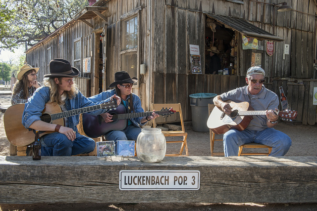 Jam session in Luckenbach, Texas, a dot of a place in Gillespie County, Texas