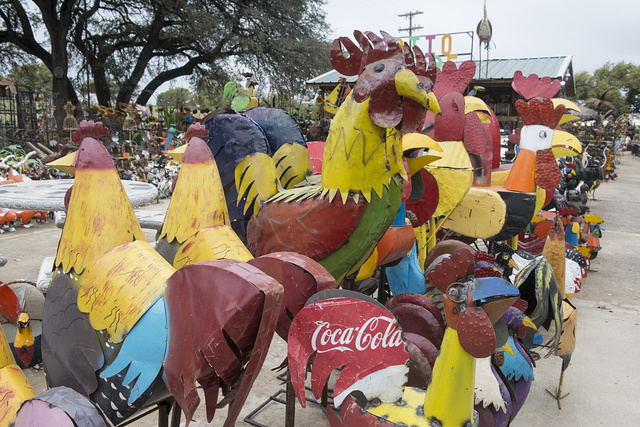 Large metal chickens for sale at the Pottery Ranch pottery store in Marble Falls, Texas. Such chicken yard art is quite popular throughout Texas