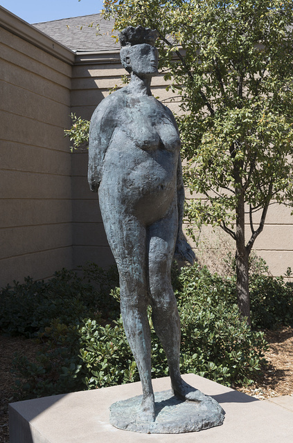 """Lifesize bronze sculpture, """"Grande Regina,"""" by Italian sculptor Augusto Perez in 1959-60, in the Marshall R. Young Courtyard of the Old Jail Art Center in Albany, Texas, seat of Shackelford County"""