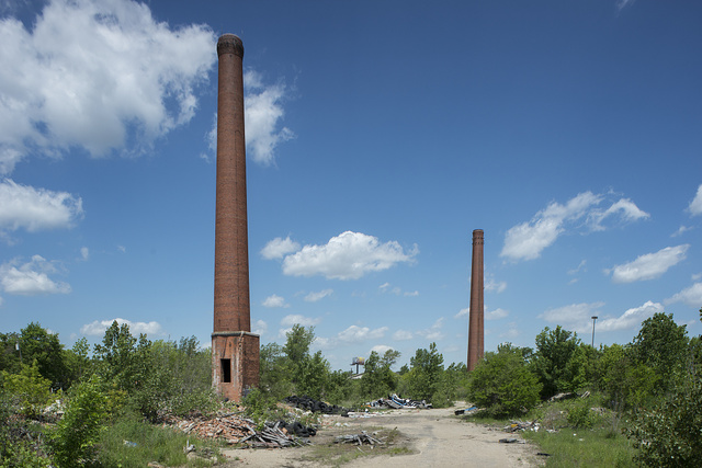 """Lillybridge at Shoemaker, Detroit, 2014.   A local resident told me """"I don't know what that factory used to be because I am too young, I am only 25.""""  Another neighbor said """"I see they are getting ready to do something, they are putting up new gates.  I am new around here.""""  Power plant for Federal Mogul Plant #1,  made ball bearings"""