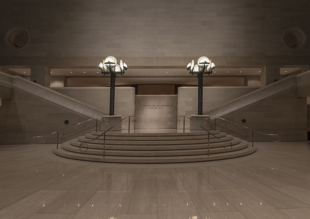 Lobby staircase leading to the auditorium at the Morton H. Myerson Symphony Center, which opened in 1989 in the Arts District of Dallas, Texas