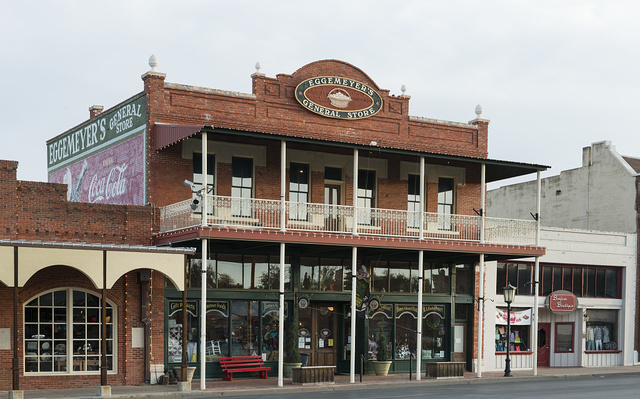 Located in a building that once housed an early Buick dealership in San Angelo, the seat of Tom Green County, Texas, Eggemeyer's General Store sells a variety of vintage goods