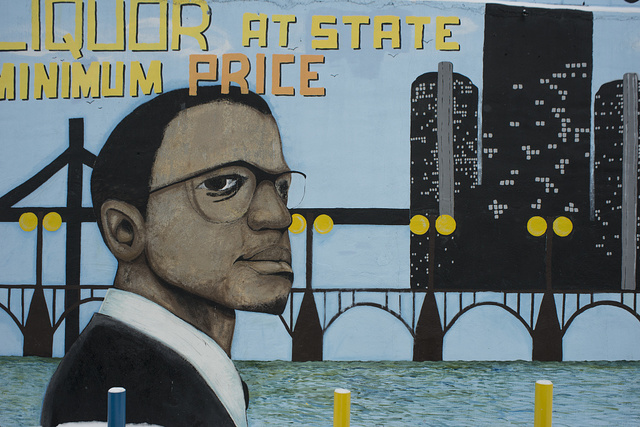 Malcolm X mural at AAA Party Store, E. Warren Ave. at Lenox, Detroit, Michigan, painted by Romel, Detroit, 2014