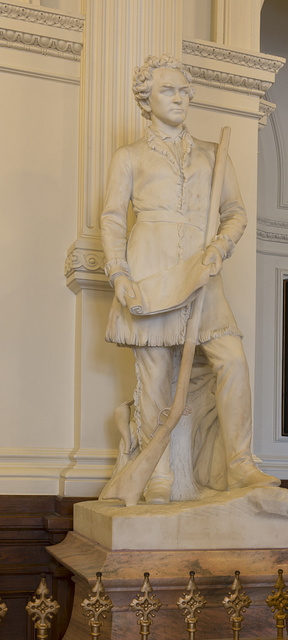 """Marble statue of David """"Davy"""" Crockett, by Elizabet Ney, unveiled on this spot in the Texas Capitol South Foyer in 1903. Austin, Texas"""