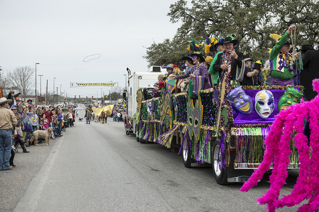 "Mardi Gras has a Texas touch in little Bandera, the ""Cowboy Capital of Texas,"" west of San Antonio, Texas"