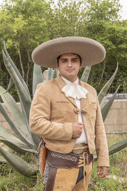 "Mario Duran, an Asociacion de Charros de San Antonio member attending a Mexican-style rodeo, or Charreria, at ""A Day in Old Mexico,"" part of the annual, month-long Fiesta celebration in San Antonio, Texas"