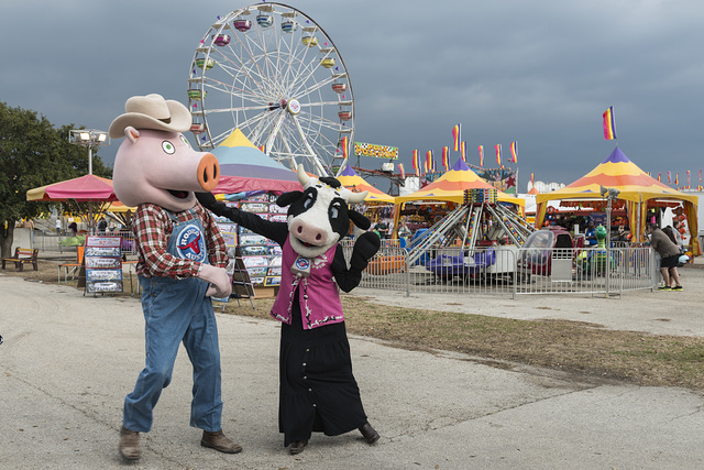 Mascots ham it up at the Star of Texas Fair and Rodeo, produced by Rodeo Austin in Austin, Texas