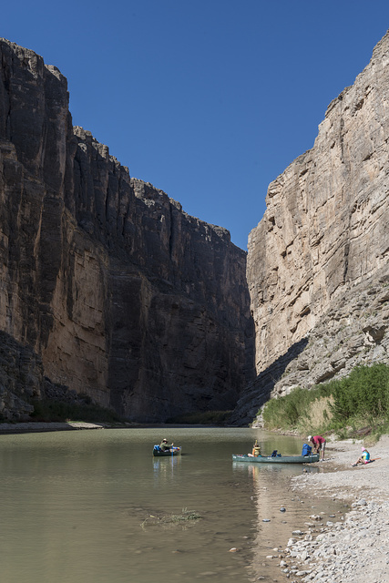 Members of the Berkman family of Houston set off on a canoe trip on the Rio Grande River through Santa Elena Canyon, deep in Big Bend National Park in Brewster County, Texas. Mexico is to the left, the United States to the right