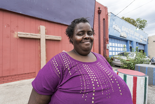 Michelle Brown, a homeless woman who is a client of the Dallas International Street Ministries, a Christian-based center in a poor Dallas, Texas, neighborhood