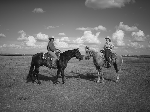 Michelle Cannon, left, and Wade Meador at the Cannon Quarter Horse ranch near the town of Venus in north-central Texas
